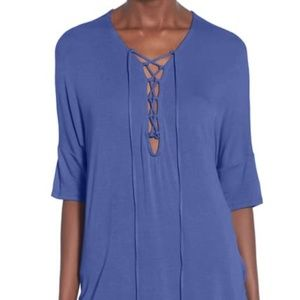 Nordstrom short-sleeved, lace-up, top